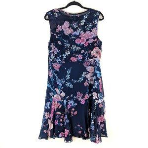 roz & ALI Floral Print Chiffon Ruffled Dress 12